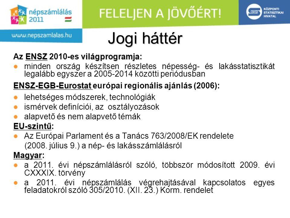 Jogi háttér ENSZvilágprogramja Az ENSZ 2010-es világprogramja: minden ország készítsen részletes népesség- és lakásstatisztikát legalább egyszer a 2005-2014 közötti periódusban ENSZ-EGB-Eurostat ENSZ-EGB-Eurostat európai regionális ajánlás (2006): lehetséges módszerek, technológiák ismérvek definíciói, az osztályozások alapvető és nem alapvető témák EU-szintű EU-szintű: Az Európai Parlament és a Tanács 763/2008/EK rendelete (2008.