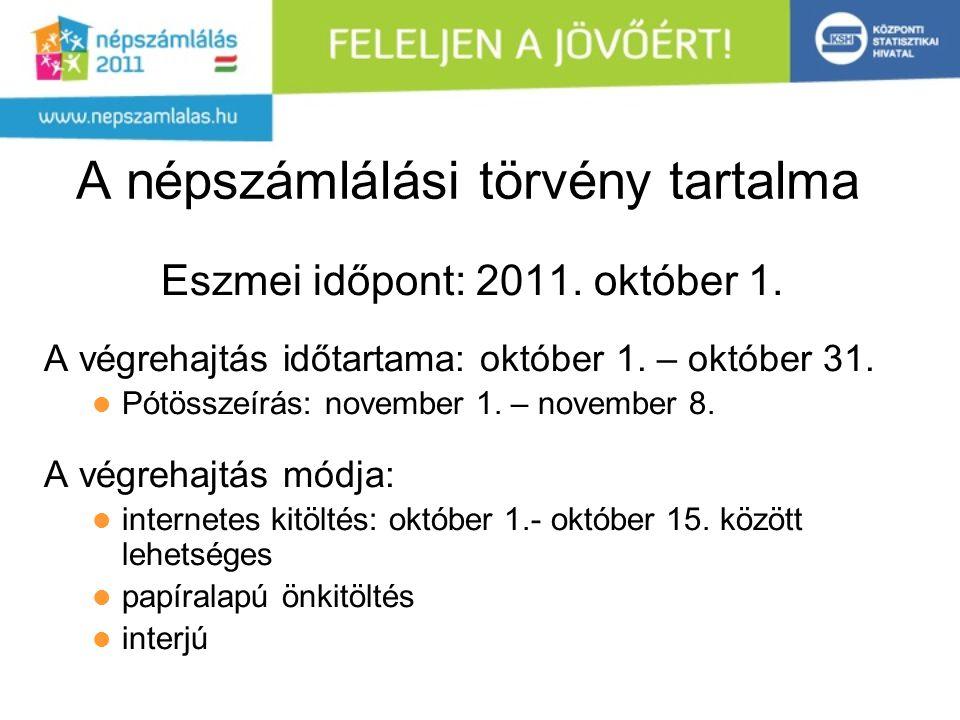 A népszámlálási törvény tartalma Eszmei időpont: 2011. október 1. A végrehajtás időtartama: október 1. – október 31. Pótösszeírás: november 1. – novem