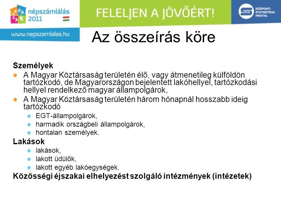 Az összeírás köre Személyek A Magyar Köztársaság területén élő, vagy átmenetileg külföldön tartózkodó, de Magyarországon bejelentett lakóhellyel, tartózkodási hellyel rendelkező magyar állampolgárok, A Magyar Köztársaság területén három hónapnál hosszabb ideig tartózkodó EGT-állampolgárok, harmadik országbeli állampolgárok, hontalan személyek.