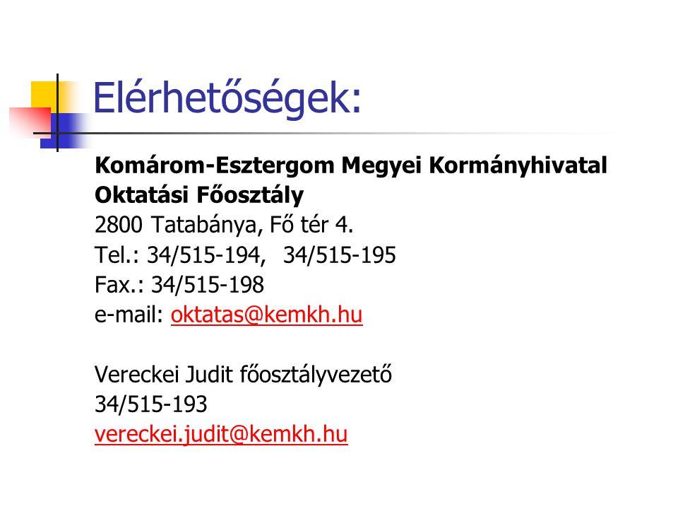 Elérhetőségek: Komárom-Esztergom Megyei Kormányhivatal Oktatási Főosztály 2800 Tatabánya, Fő tér 4. Tel.: 34/515-194, 34/515-195 Fax.: 34/515-198 e-ma
