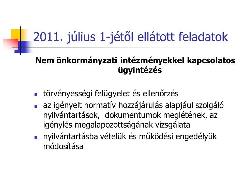 2011. július 1-jétől ellátott feladatok Nem önkormányzati intézményekkel kapcsolatos ügyintézés törvényességi felügyelet és ellenőrzés az igényelt nor