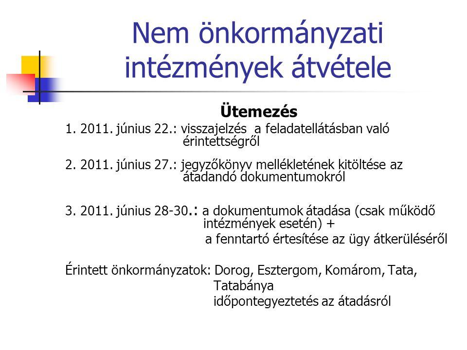 Nem önkormányzati intézmények átvétele Ütemezés 1. 2011. június 22.: visszajelzés a feladatellátásban való érintettségről 2. 2011. június 27.: jegyzők