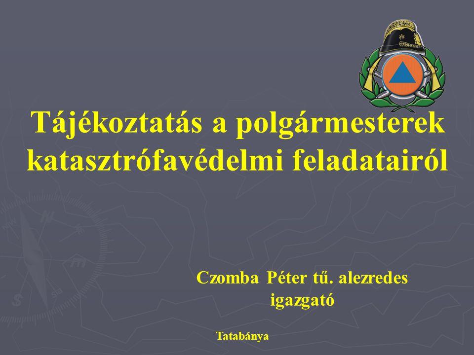 Czomba Péter tű. alezredes igazgató Tatabánya Tájékoztatás a polgármesterek katasztrófavédelmi feladatairól