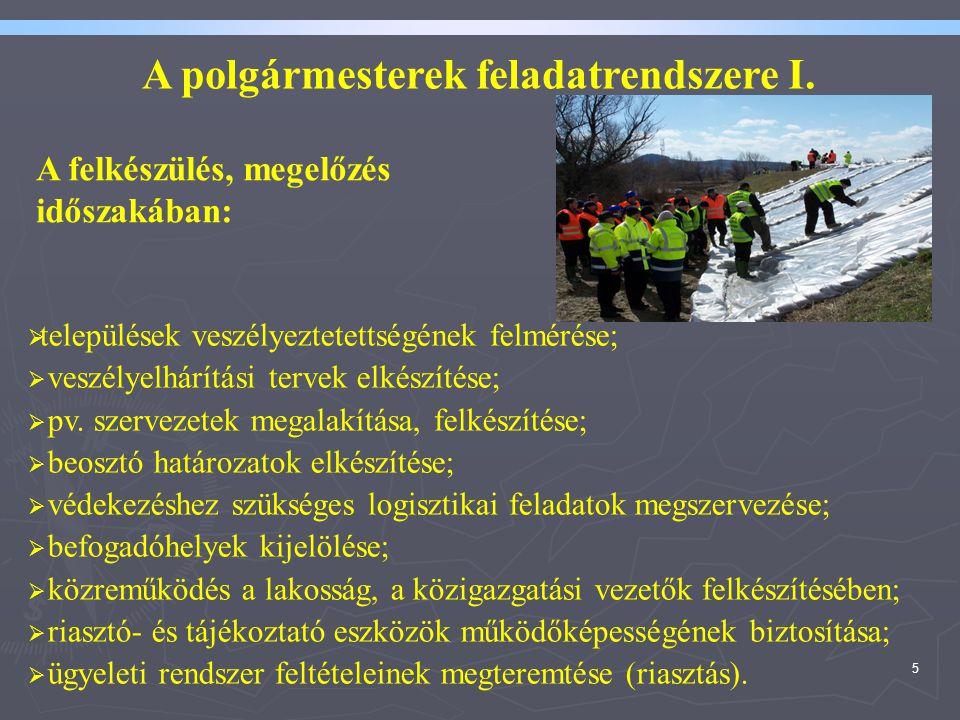 5 A polgármesterek feladatrendszere I.  települések veszélyeztetettségének felmérése;  veszélyelhárítási tervek elkészítése;  pv. szervezetek megal