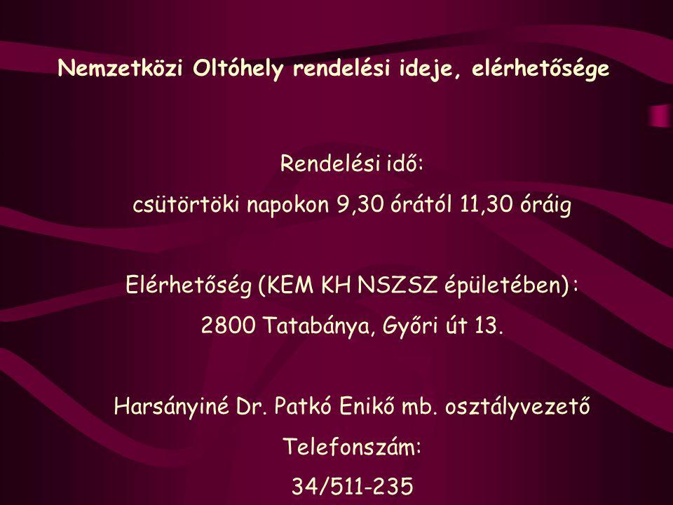 Nemzetközi Oltóhely rendelési ideje, elérhetősége Rendelési idő: csütörtöki napokon 9,30 órától 11,30 óráig Elérhetőség (KEM KH NSZSZ épületében) : 28