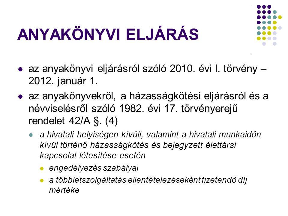 ANYAKÖNYVI ELJÁRÁS az anyakönyvi eljárásról szóló 2010.