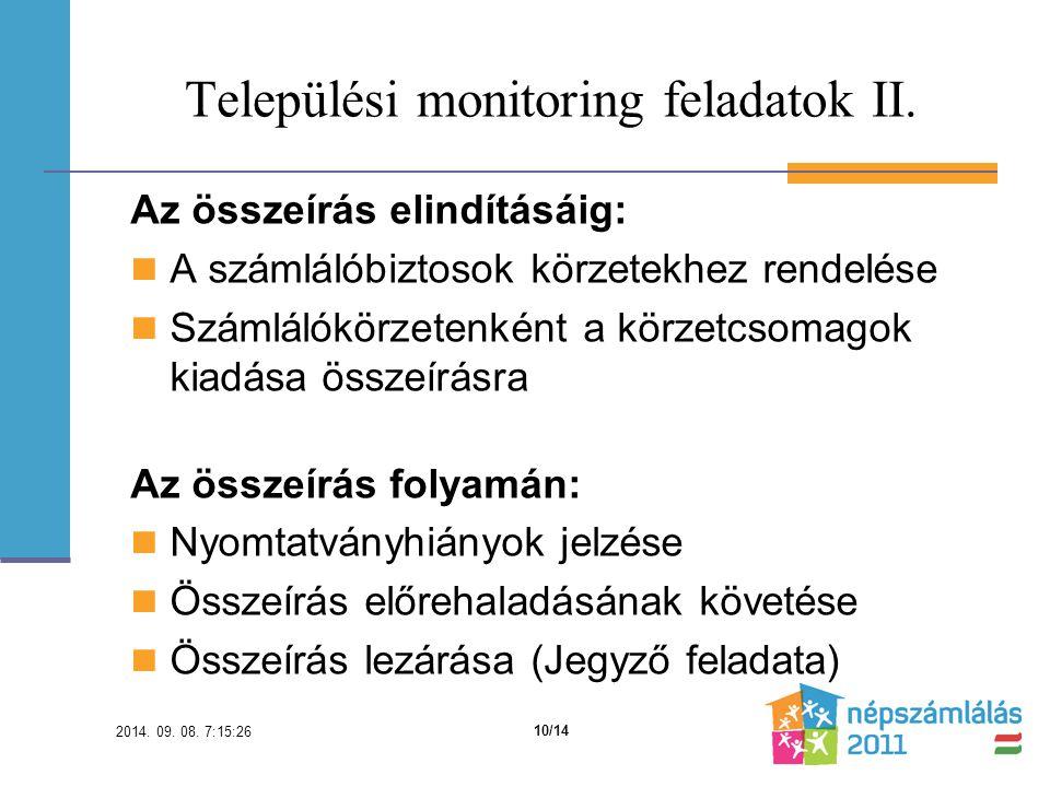 Települési monitoring feladatok II.