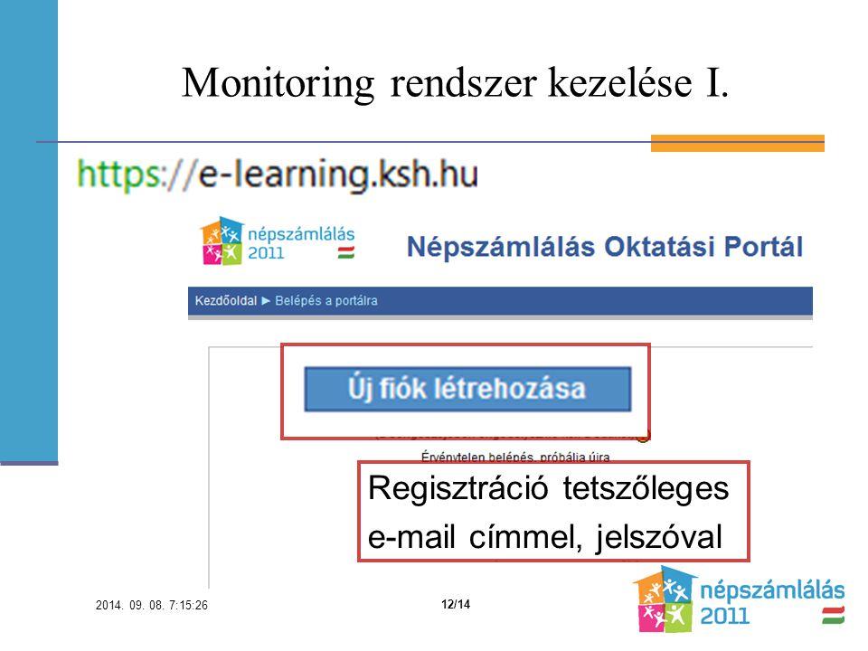 Monitoring rendszer kezelése I. Regisztráció tetszőleges e-mail címmel, jelszóval 2014.