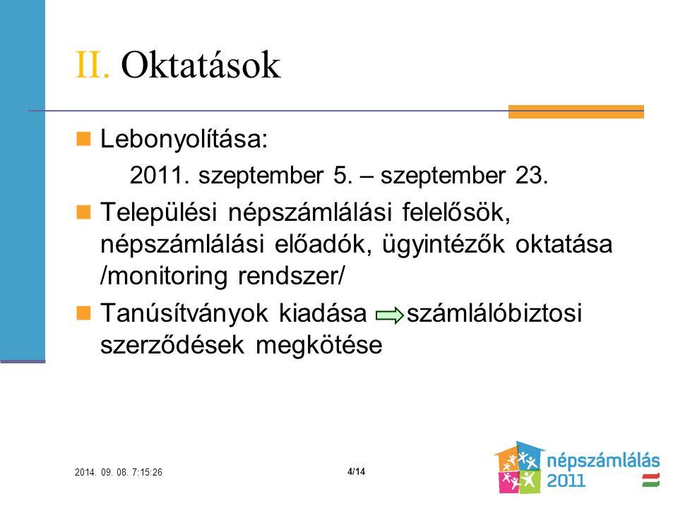 II. Oktatások Lebonyolítása: 2011. szeptember 5.