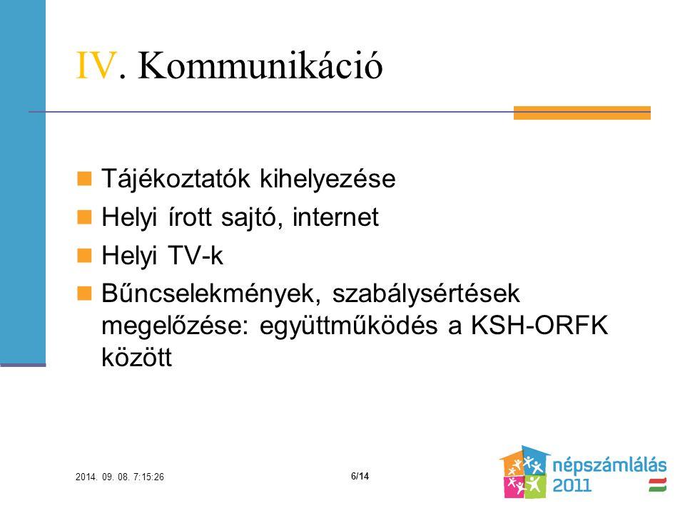 IV. Kommunikáció Tájékoztatók kihelyezése Helyi írott sajtó, internet Helyi TV-k Bűncselekmények, szabálysértések megelőzése: együttműködés a KSH-ORFK