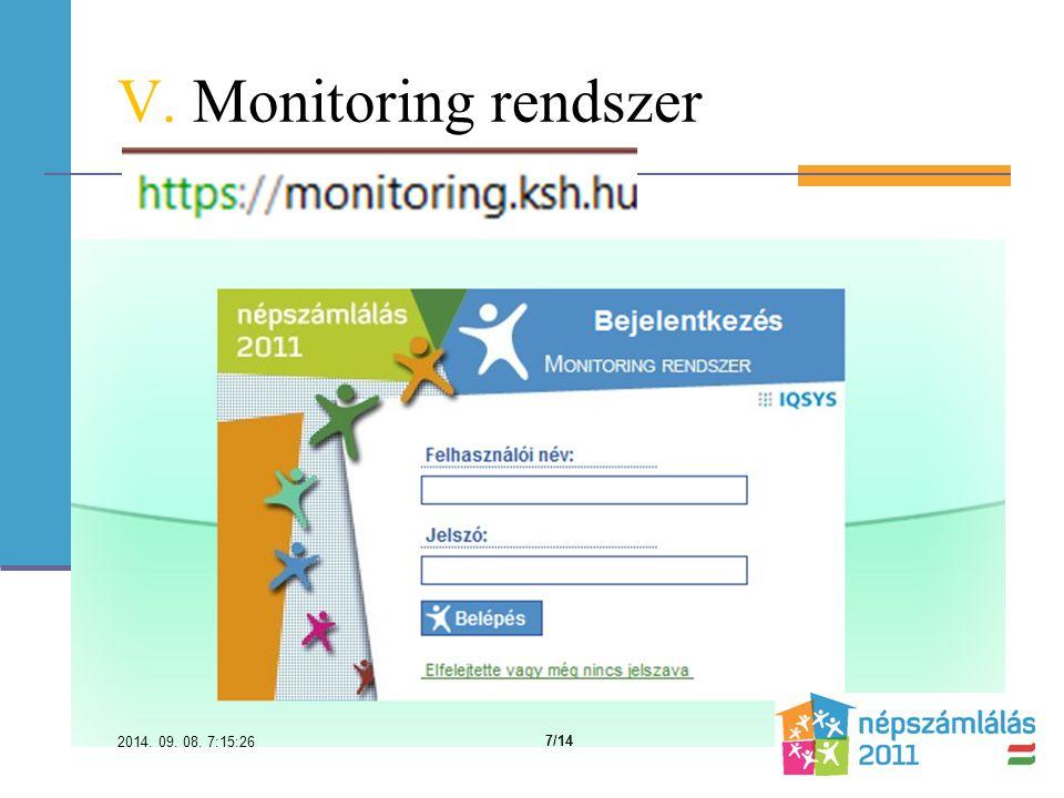 V. Monitoring rendszer 2014. 09. 08. 7:16:59 7/14