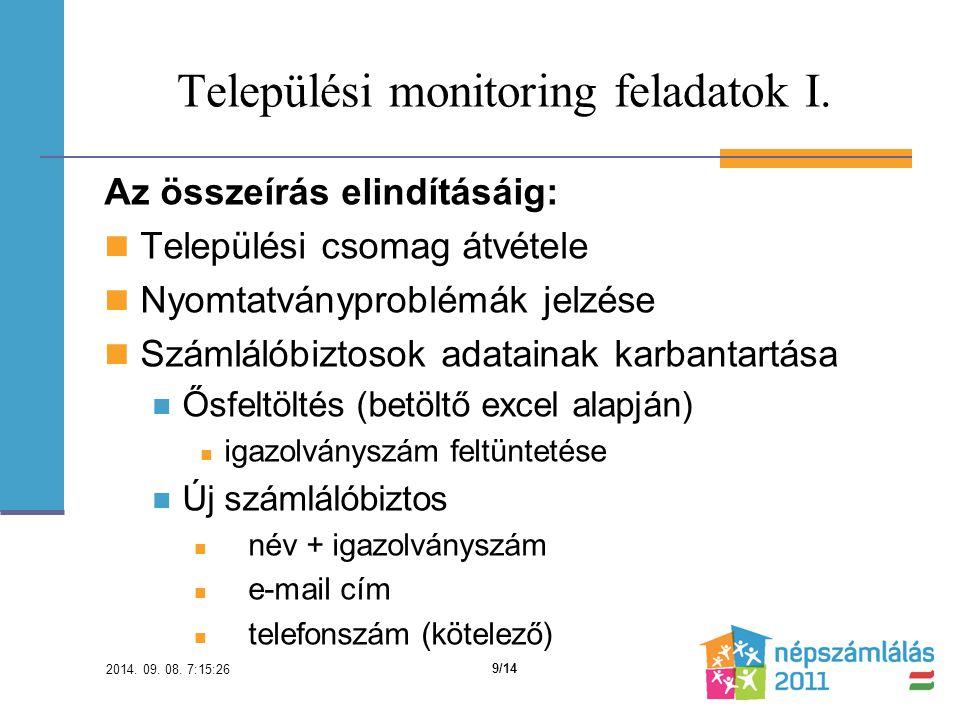 Települési monitoring feladatok I.