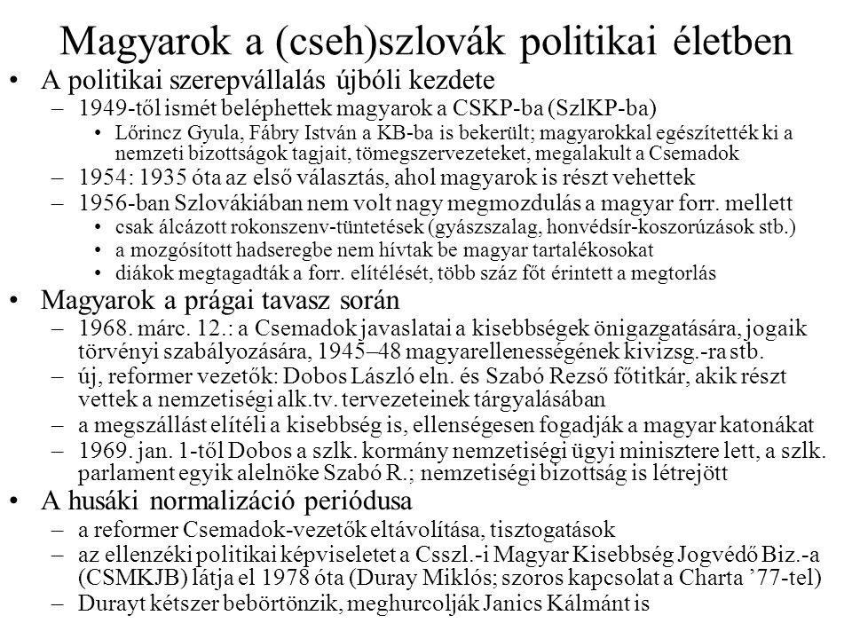 Magyarok a (cseh)szlovák politikai életben A politikai szerepvállalás újbóli kezdete –1949-től ismét beléphettek magyarok a CSKP-ba (SzlKP-ba) Lőrincz Gyula, Fábry István a KB-ba is bekerült; magyarokkal egészítették ki a nemzeti bizottságok tagjait, tömegszervezeteket, megalakult a Csemadok –1954: 1935 óta az első választás, ahol magyarok is részt vehettek –1956-ban Szlovákiában nem volt nagy megmozdulás a magyar forr.