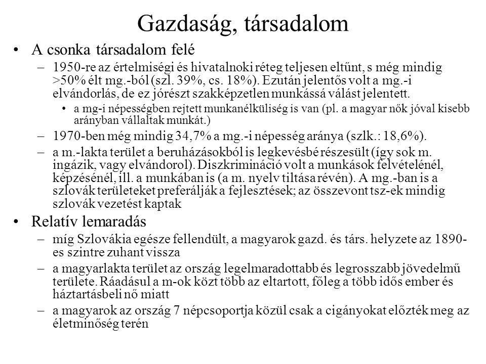 Oktatás Óvodák, általános iskolák –az első magyar osztályok 1949-ben indultak meg, 4 év szünet után –a régi tanárok 5%-a állt munkába, s évtizedekig képzetlen tanerők dolgoztak –1969-től ismét csökkenni kezdett a magyar iskolák száma és nőtt a szlovák iskolákba járó magyarok aránya; a szülőket sokszor meg is félemlítették, de maguk is előnyösnek tartják, ha gyerekük megtanul szlovákul… –a 70-es években terv a m.