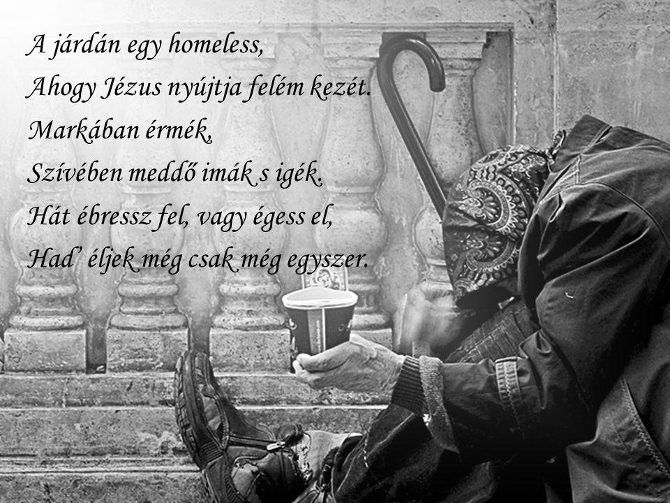 A járdán egy homeless, Ahogy Jézus nyújtja felém kezét. Markában érmék, Szívében meddő imák s igék. Hát ébressz fel, vagy égess el, Had' éljek még csa