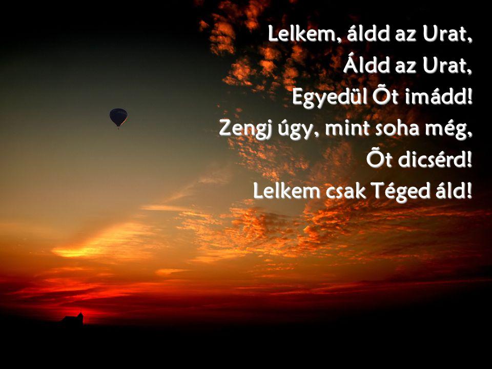 Lelkem, áldd az Urat, Áldd az Urat, Egyedül Õt imádd! Zengj úgy, mint soha még, Õt dicsérd! Lelkem csak Téged áld!