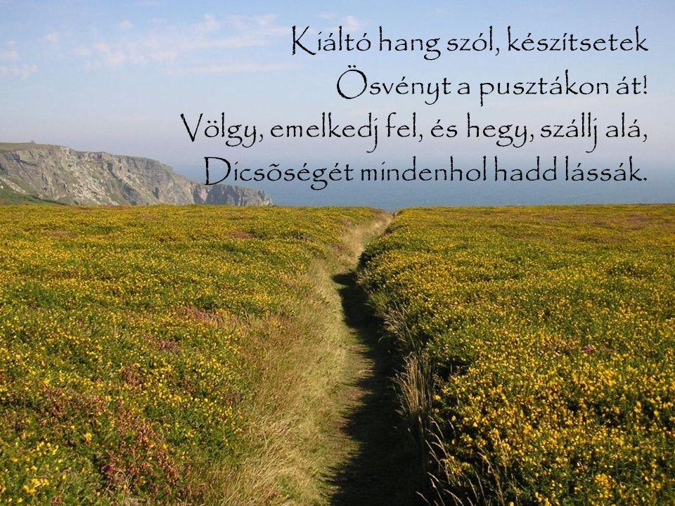 Kiáltó hang szól, készítsetek Ösvényt a pusztákon át! Völgy, emelkedj fel, és hegy, szállj alá, Dicsõségét mindenhol hadd lássák.