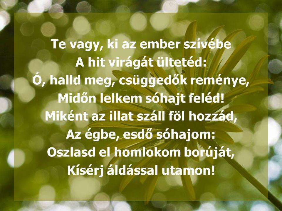 Te vagy, ki az ember szívébe A hit virágát ültetéd: Ó, halld meg, csüggedők reménye, Midőn lelkem sóhajt feléd! Miként az illat száll föl hozzád, Az é