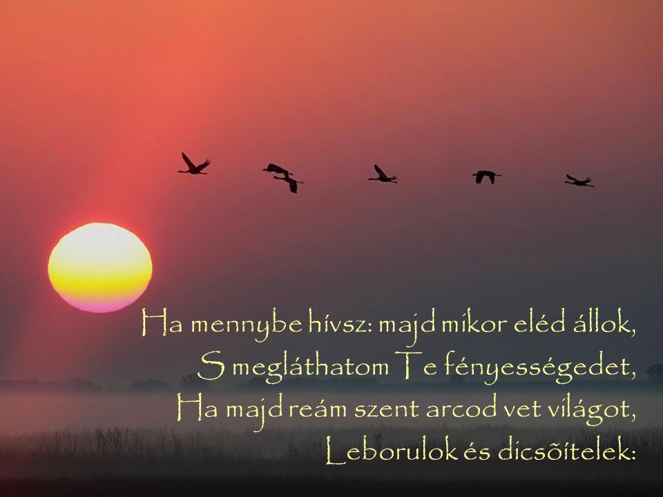 Ha mennybe hívsz: majd mikor eléd állok, S megláthatom Te fényességedet, Ha majd reám szent arcod vet világot, Leborulok és dicsõítelek:
