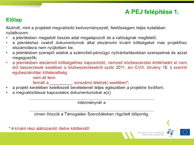 A PEJ felépítése 1. Előlap Alulírott, mint a projektet megvalósító kedvezményezett, felelősségem teljes tudatában nyilatkozom: a jelentésben megadott