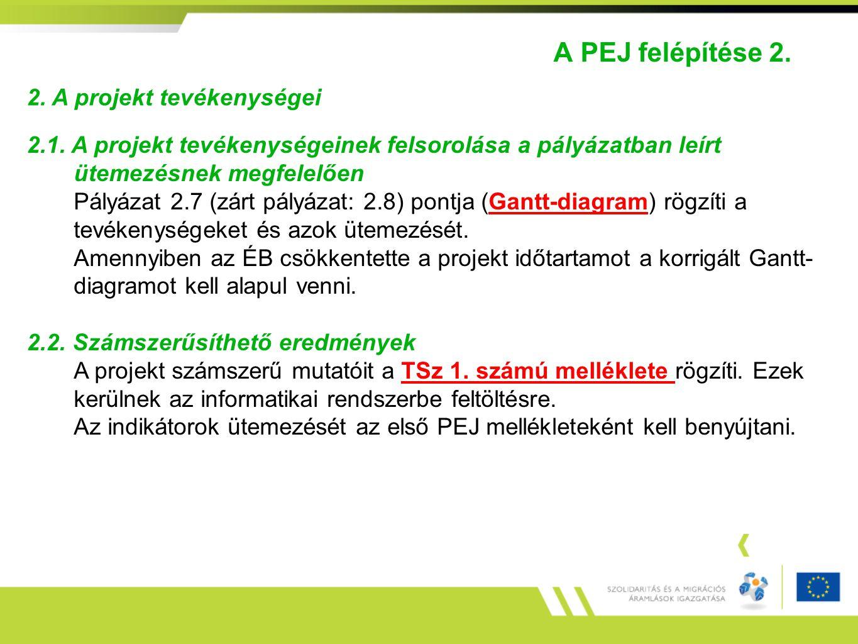 A PEJ felépítése 2. 2. A projekt tevékenységei 2.1. A projekt tevékenységeinek felsorolása a pályázatban leírt ütemezésnek megfelelően Pályázat 2.7 (z