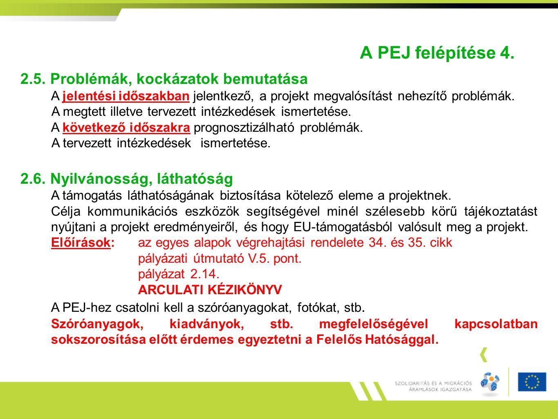 A PEJ felépítése 4. 2.5. Problémák, kockázatok bemutatása A jelentési időszakban jelentkező, a projekt megvalósítást nehezítő problémák. A megtett ill