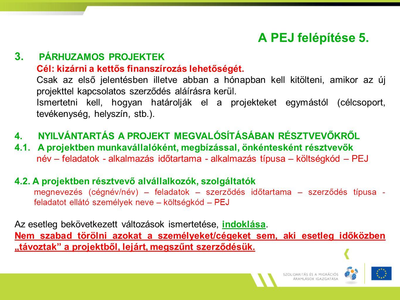 A PEJ felépítése 5. 3. PÁRHUZAMOS PROJEKTEK Cél: kizárni a kettős finanszírozás lehetőségét. Csak az első jelentésben illetve abban a hónapban kell ki