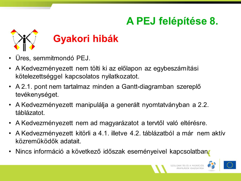 A PEJ felépítése 8. Gyakori hibák Üres, semmitmondó PEJ. A Kedvezményezett nem tölti ki az előlapon az egybeszámítási kötelezettséggel kapcsolatos nyi