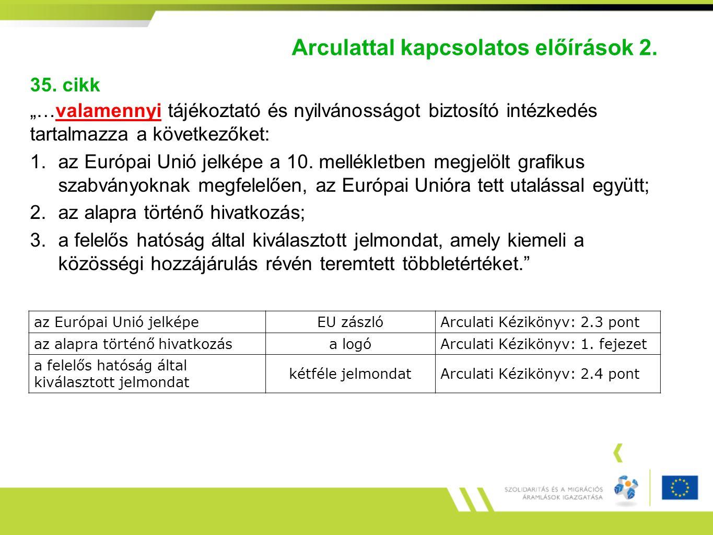 """Arculattal kapcsolatos előírások 2. 35. cikk """"…valamennyi tájékoztató és nyilvánosságot biztosító intézkedés tartalmazza a következőket: 1.az Európai"""