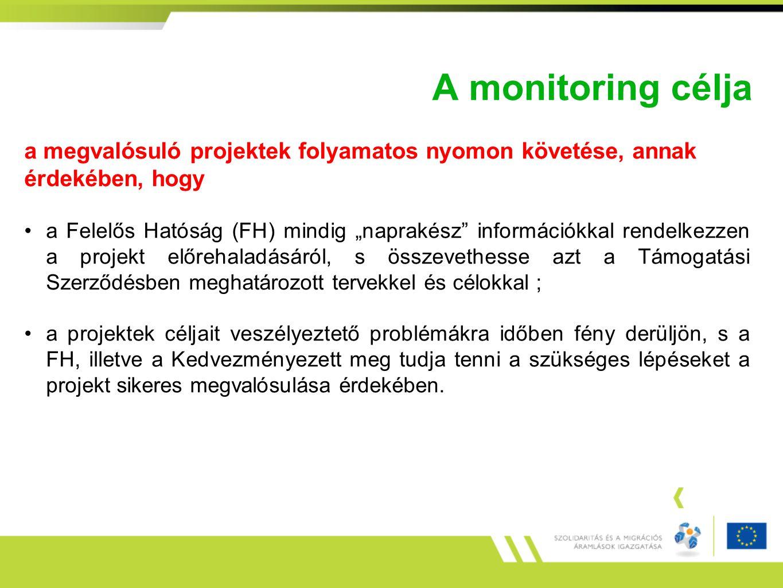 """A monitoring célja a megvalósuló projektek folyamatos nyomon követése, annak érdekében, hogy a Felelős Hatóság (FH) mindig """"naprakész"""" információkkal"""
