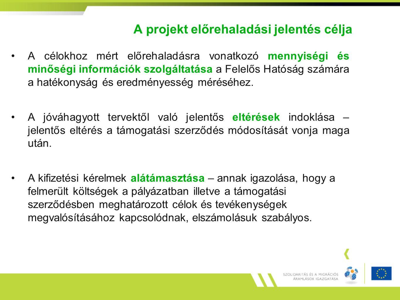 A projekt előrehaladási jelentés célja A célokhoz mért előrehaladásra vonatkozó mennyiségi és minőségi információk szolgáltatása a Felelős Hatóság szá