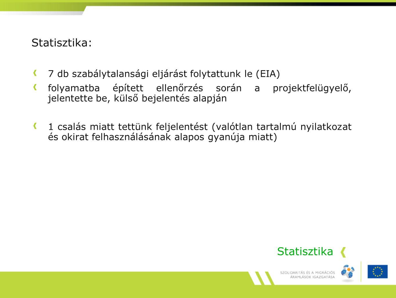 Statisztika Statisztika: 7 db szabálytalansági eljárást folytattunk le (EIA) folyamatba épített ellenőrzés során a projektfelügyelő, jelentette be, kü
