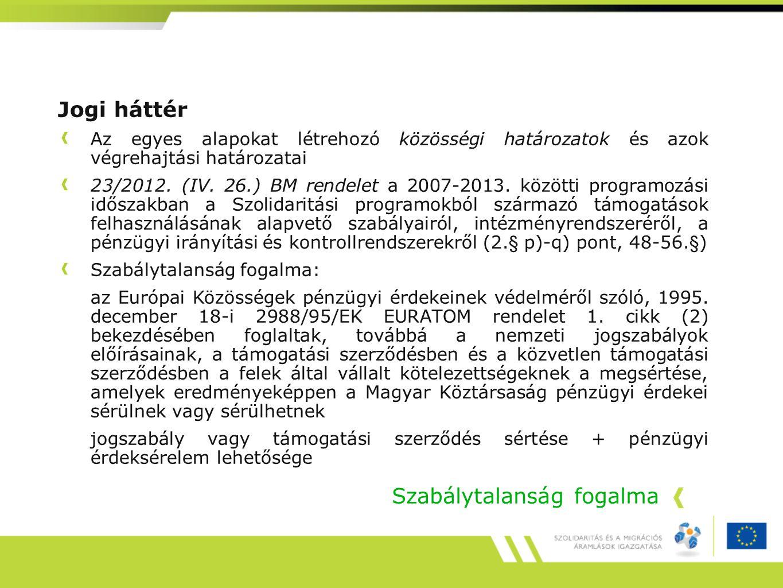 Jogi háttér Az egyes alapokat létrehozó közösségi határozatok és azok végrehajtási határozatai 23/2012. (IV. 26.) BM rendelet a 2007-2013. közötti pro