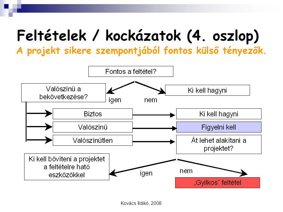 Kovács Ildikó, 2008. Feltételek / kockázatok (4. oszlop) A projekt sikere szempontjából fontos külső tényezők.