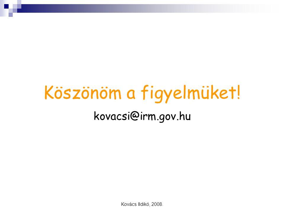 Kovács Ildikó, 2008. Köszönöm a figyelmüket! kovacsi@irm.gov.hu
