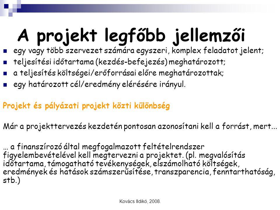 Kovács Ildikó, 2008. A projekt legfőbb jellemzői egy vagy több szervezet számára egyszeri, komplex feladatot jelent; teljesítési időtartama (kezdés-be