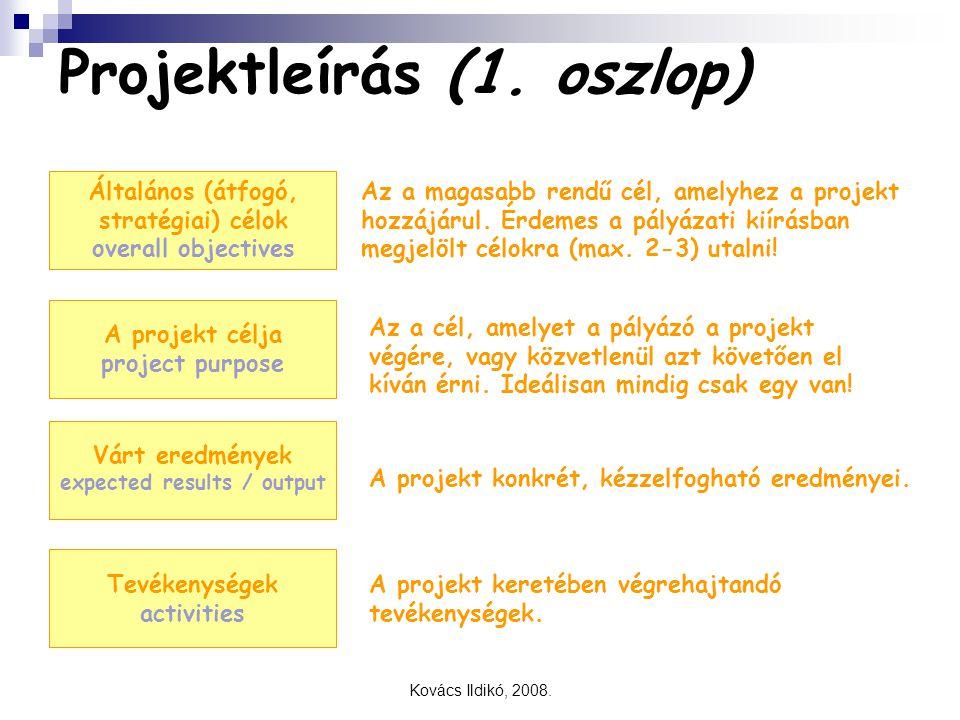 Kovács Ildikó, 2008. Projektleírás (1. oszlop) Általános (átfogó, stratégiai) célok overall objectives Az a magasabb rendű cél, amelyhez a projekt hoz