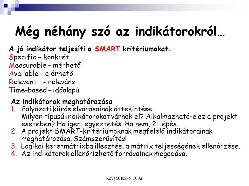 Kovács Ildikó, 2008. Még néhány szó az indikátorokról… A jó indikátor teljesíti a SMART kritériumokat: Specific– konkrét Measurable- mérhető Available