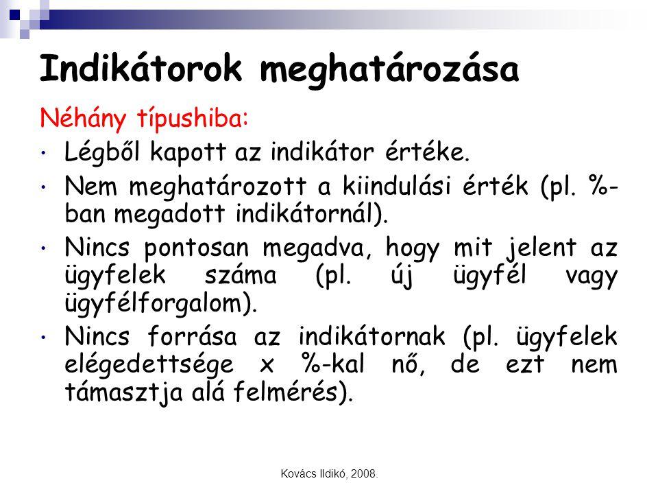 Kovács Ildikó, 2008. Indikátorok meghatározása Néhány típushiba: Légből kapott az indikátor értéke. Nem meghatározott a kiindulási érték (pl. %- ban m