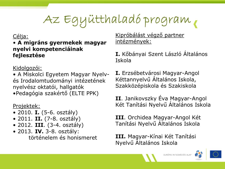 Az Együtthaladó program Célja: A migráns gyermekek magyar nyelvi kompetenciáinak fejlesztése Kidolgozói: A Miskolci Egyetem Magyar Nyelv- és Irodalomtudományi intézetének nyelvész oktatói, hallgatók Pedagógia szakértő (ELTE PPK) Projektek: 2010.