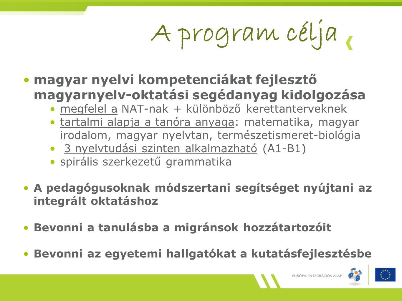 A program célja magyar nyelvi kompetenciákat fejlesztő magyarnyelv-oktatási segédanyag kidolgozása megfelel a NAT-nak + különböző kerettanterveknek tartalmi alapja a tanóra anyaga: matematika, magyar irodalom, magyar nyelvtan, természetismeret-biológia 3 nyelvtudási szinten alkalmazható (A1-B1) spirális szerkezetű grammatika A pedagógusoknak módszertani segítséget nyújtani az integrált oktatáshoz Bevonni a tanulásba a migránsok hozzátartozóit Bevonni az egyetemi hallgatókat a kutatásfejlesztésbe