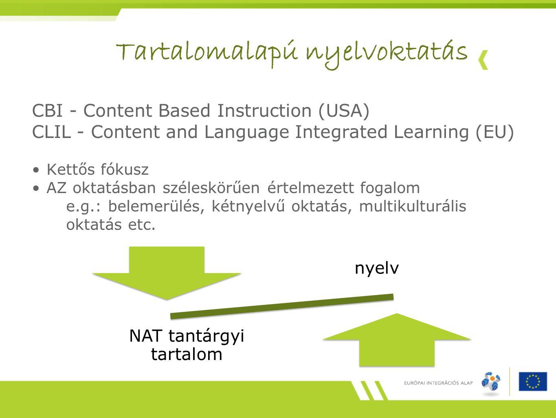 CBI - Content Based Instruction (USA) CLIL - Content and Language Integrated Learning (EU) Kettős fókusz AZ oktatásban széleskörűen értelmezett fogalom e.g.: belemerülés, kétnyelvű oktatás, multikulturális oktatás etc.