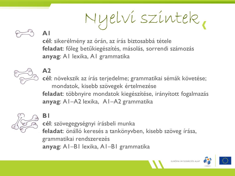 A1 cél: sikerélmény az órán, az írás biztosabbá tétele feladat: főleg betűkiegészítés, másolás, sorrendi számozás anyag: A1 lexika, A1 grammatika A2 cél: növekszik az írás terjedelme; grammatikai sémák követése; mondatok, kisebb szövegek értelmezése feladat: többnyire mondatok kiegészítése, irányított fogalmazás anyag: A1–A2 lexika, A1–A2 grammatika B1 cél: szövegegységnyi írásbeli munka feladat: önálló keresés a tankönyvben, kisebb szöveg írása, grammatikai rendszerezés anyag: A1–B1 lexika, A1–B1 grammatika Nyelvi szintek