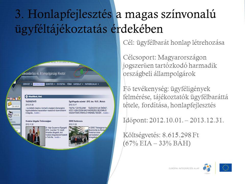 3. Honlapfejlesztés a magas színvonalú ügyféltájékoztatás érdekében Cél: ügyfélbarát honlap létrehozása Célcsoport: Magyarországon jogszer ű en tartóz
