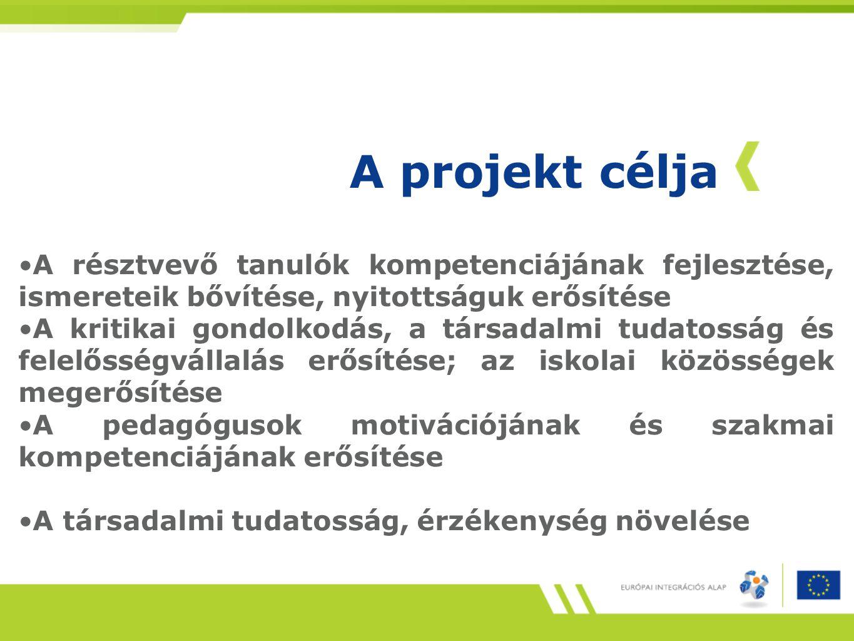 A projekt célja A résztvevő tanulók kompetenciájának fejlesztése, ismereteik bővítése, nyitottságuk erősítése A kritikai gondolkodás, a társadalmi tud