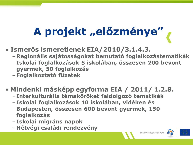 """A projekt """"előzménye"""" Ismerős ismeretlenek EIA/2010/3.1.4.3. –Regionális sajátosságokat bemutató foglalkozástematikák –Iskolai foglalkozások 5 iskoláb"""