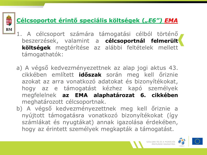 """Célcsoportot érintő speciális költségek (""""E6"""") EMA 1. A célcsoport számára támogatási célból történő beszerzések, valamint a célcsoportnál felmerült k"""