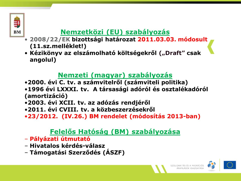 """Nemzetközi (EU) szabályozás 2008/22/EK bizottsági határozat 2011.03.03. módosult (11.sz.melléklet!) Kézikönyv az elszámolható költségekről (""""Draft"""" cs"""