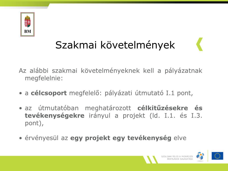 Szakmai követelmények Az alábbi szakmai követelményeknek kell a pályázatnak megfelelnie: a célcsoport megfelelő: pályázati útmutató I.1 pont, az útmutatóban meghatározott célkitűzésekre és tevékenységekre irányul a projekt (ld.