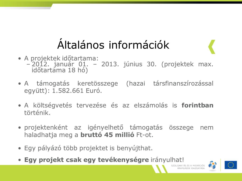 Általános információk A projektek időtartama: –2012. január 01. – 2013. június 30. (projektek max. időtartama 18 hó) A támogatás keretösszege (hazai t